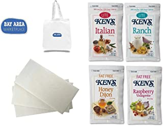 Ken's Portion And Calorie Control Salad Dressing Variety (4 flavors-5 of each) with Napkins - Includes Bay Area Marketplace tote bag