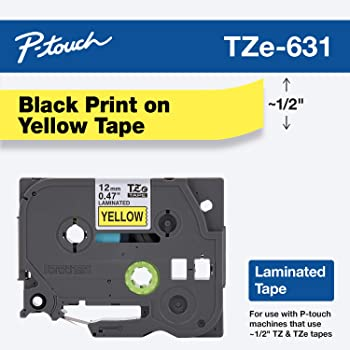 """Brother Genuine P-touch TZE-631 Tape, 1/2"""" (0.47"""") Standard Laminated P-touch Tape, Black on Yellow, Laminated for Indoor or Outdoor Use, Water Resistant, 26.2 Feet (8M), Single-Pack"""