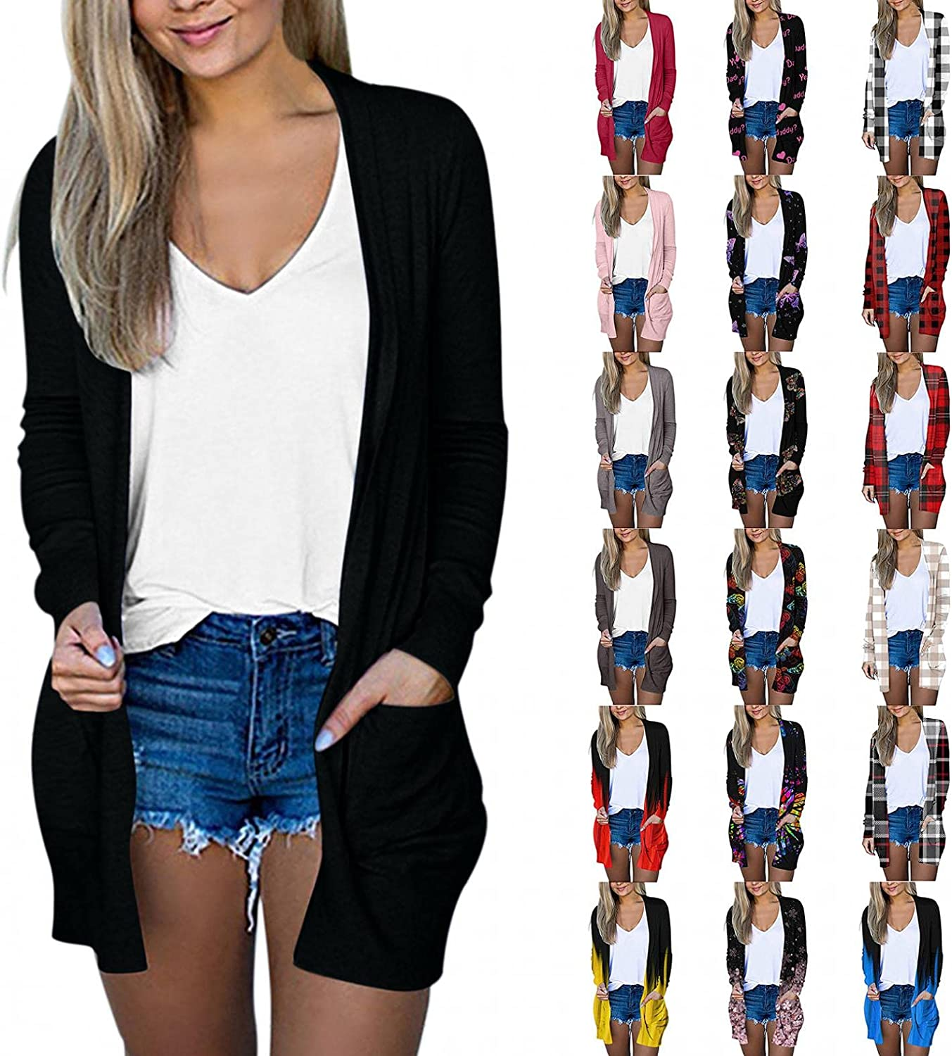 AODONG Cardigan Sweaters for Women, Womens Cardigan with Pockets Plus Size Soft Sweaters Long Sleeve Fashion Outwear