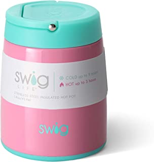 Swig Life Triple Insulated 14oz Food Hot Pot Travelling Thermos with Twist-Off Lid and Carrying Handle in Peony