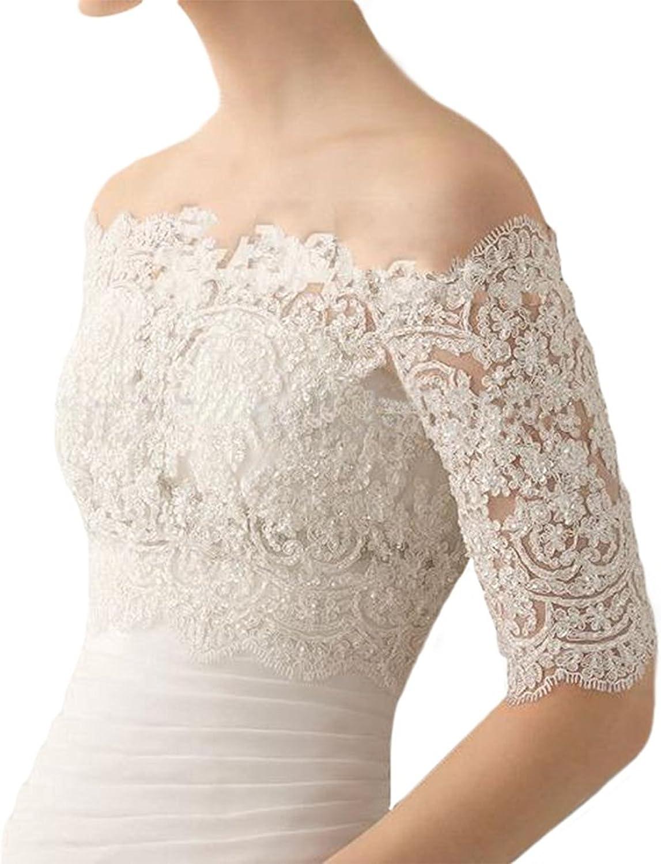 EllieHouse Women's Lace Bolero Jacket Wedding Bridal Wraps With Pearls WJ32