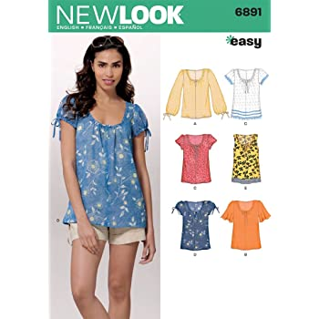 Simplicity New Look Easy Pattern 6891 Misses Pull-On Tops with Variations at Sleeve Sizes 10-12-14-16-18-20-22