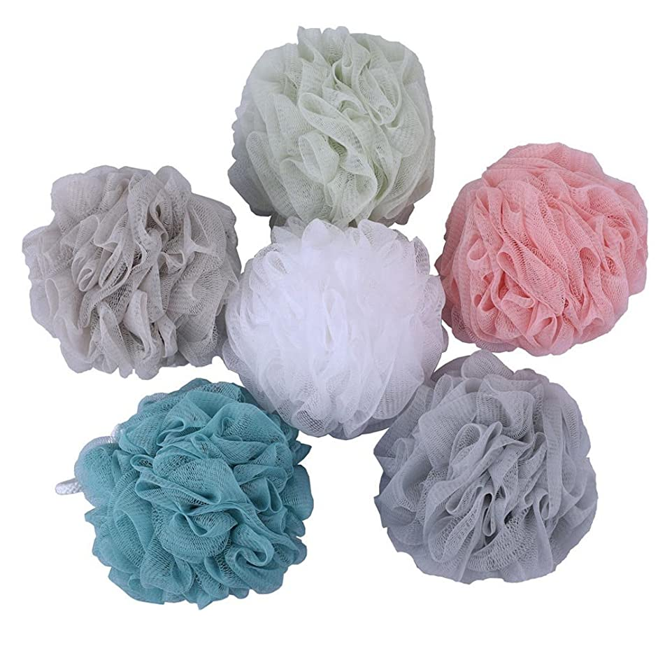 Mesh Poufs (60g/pcs) Bath and Shower Sponge Loofahs Exfoliating Mesh Puff - Great for Body Wash Pack of 6
