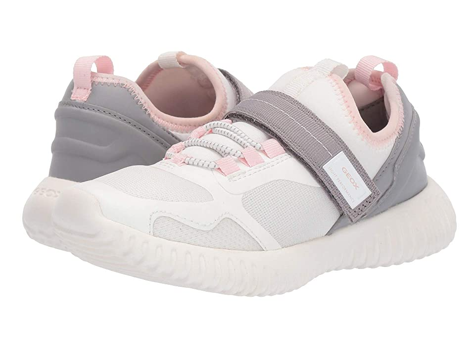 Geox Kids Waviness Girl 9 (Little Kid/Big Kid) (White/Grey) Girl