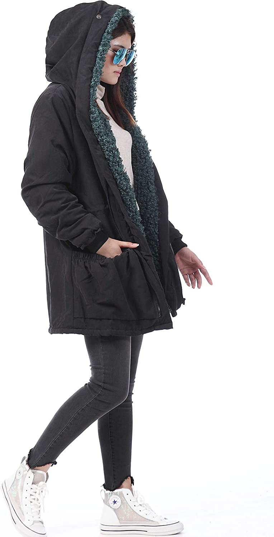 Roiii Damen Kapuze Warme Mäntel Parkas Teddy Fleece Winter Zip Jacke Casual Outwear Mantel Grün