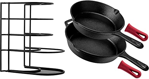 """Cast Iron Skillet Set - 2-Pc: 8"""" + 10""""-Inch + Heavy Duty Pan Organizer + 2 Silicone Handle Holders - Pre-Seasoned Oven Safe Cookware - Rack holds up to 50 pounds - Grill, Stovetop, Induction Safe"""
