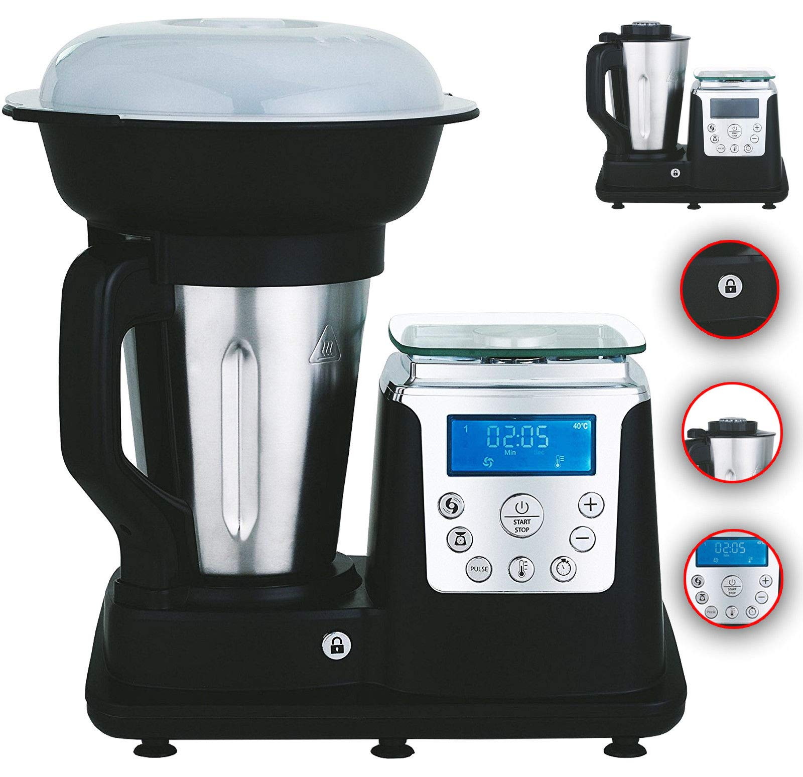 10 en 1thermo Multi Robot cocina 1350 W cocina Mixer negro: Amazon ...