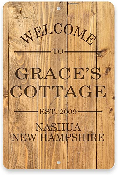 Personalized Rustic Wood Plank Look Welcome To The Cottage Metal Room Sign