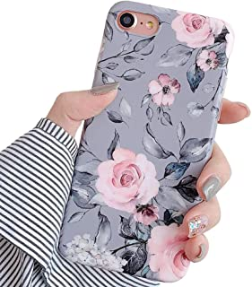 YeLoveHaw iPhone 8 Case, iPhone 7 Case for Girls, Flexible Soft Slim Fit Full-Around Protective Cute Phone Case Cover with Purple Floral and Gray Leaves Pattern for iPhone8 / iPhone7 (Pink Flowers)