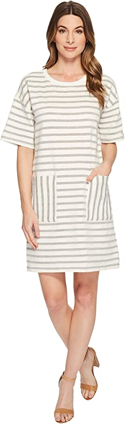 Short Sleeve Drop Shoulder Stripe Dress