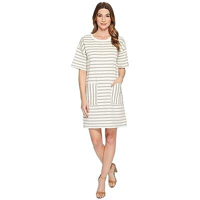TWO by Vince Camuto Short Sleeve Drop Shoulder Stripe Dress (Grey Heather) Women