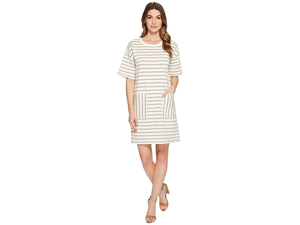 TWO by Vince Camuto Short Sleeve Drop Shoulder Stripe Dress (Grey Heather) Women