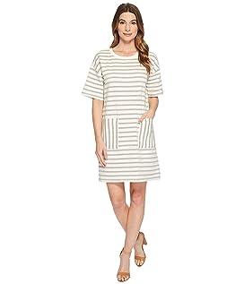 Short Sleeve Drop Shoulder Stripe Dress