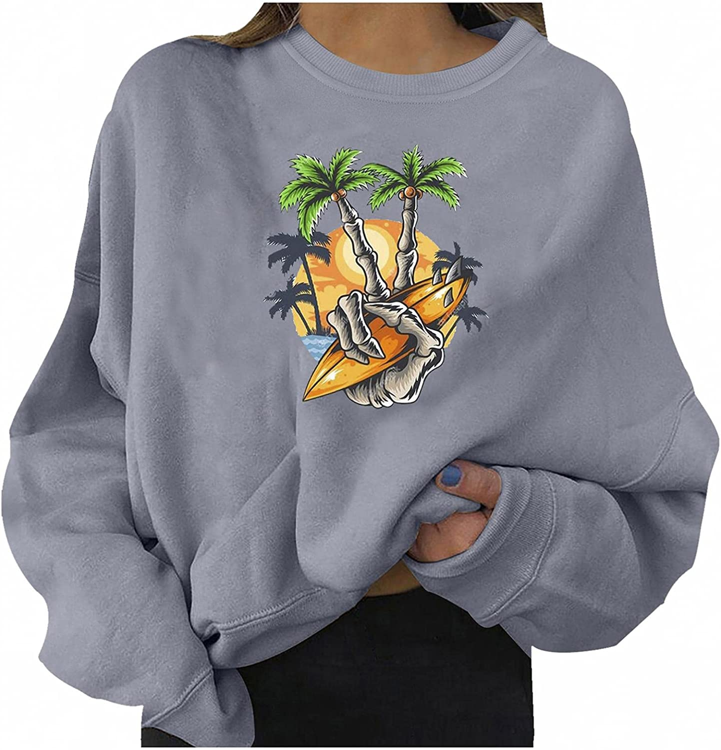 Halloween Sweatshirts for Women Casual Long Sleeve Halloween Trendy Graphic Fashion Crewneck Pullover Sweater Top Blouse