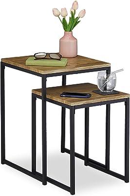 Relaxdays Table d'appoint Jeu de 2, empilable, Design Industriel, gigognes, 2 Tailles, carrées, métal, Effet Bois,Noir, Fer, MDF, PVC, Lot de 2