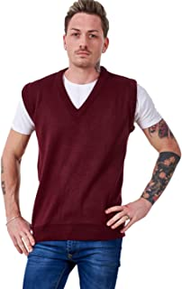 Bay eCom UK Men's Plain Knitted v Neck Classic Sleeveless Cardigans Tops Tank Jumpers Size S to 5XL