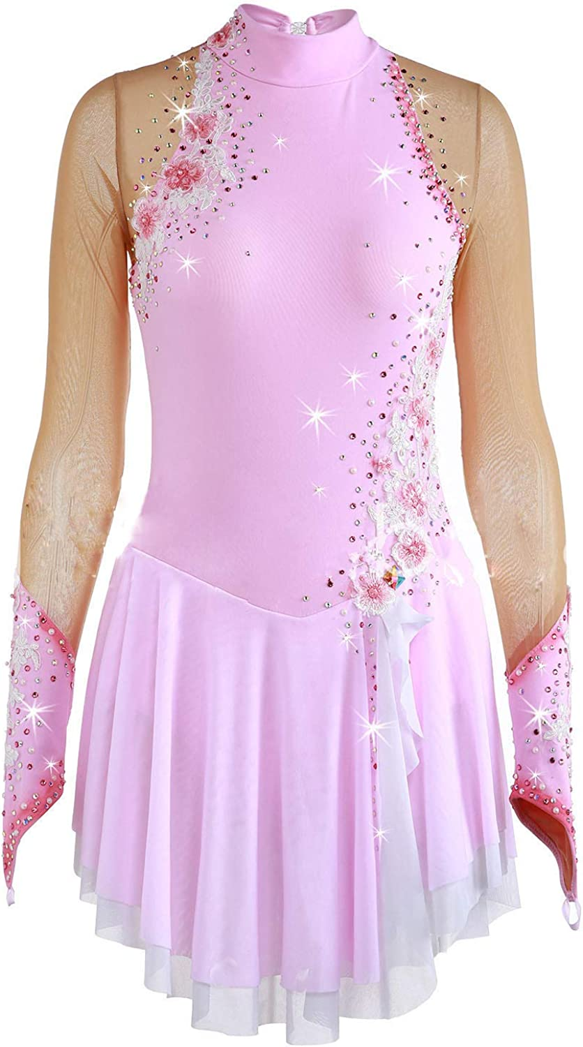 Heart&M Ice Skating Dress For Girls, Handmade Figure Skating Competition Costume With Crystals And Appliques Long Sleeved Pink