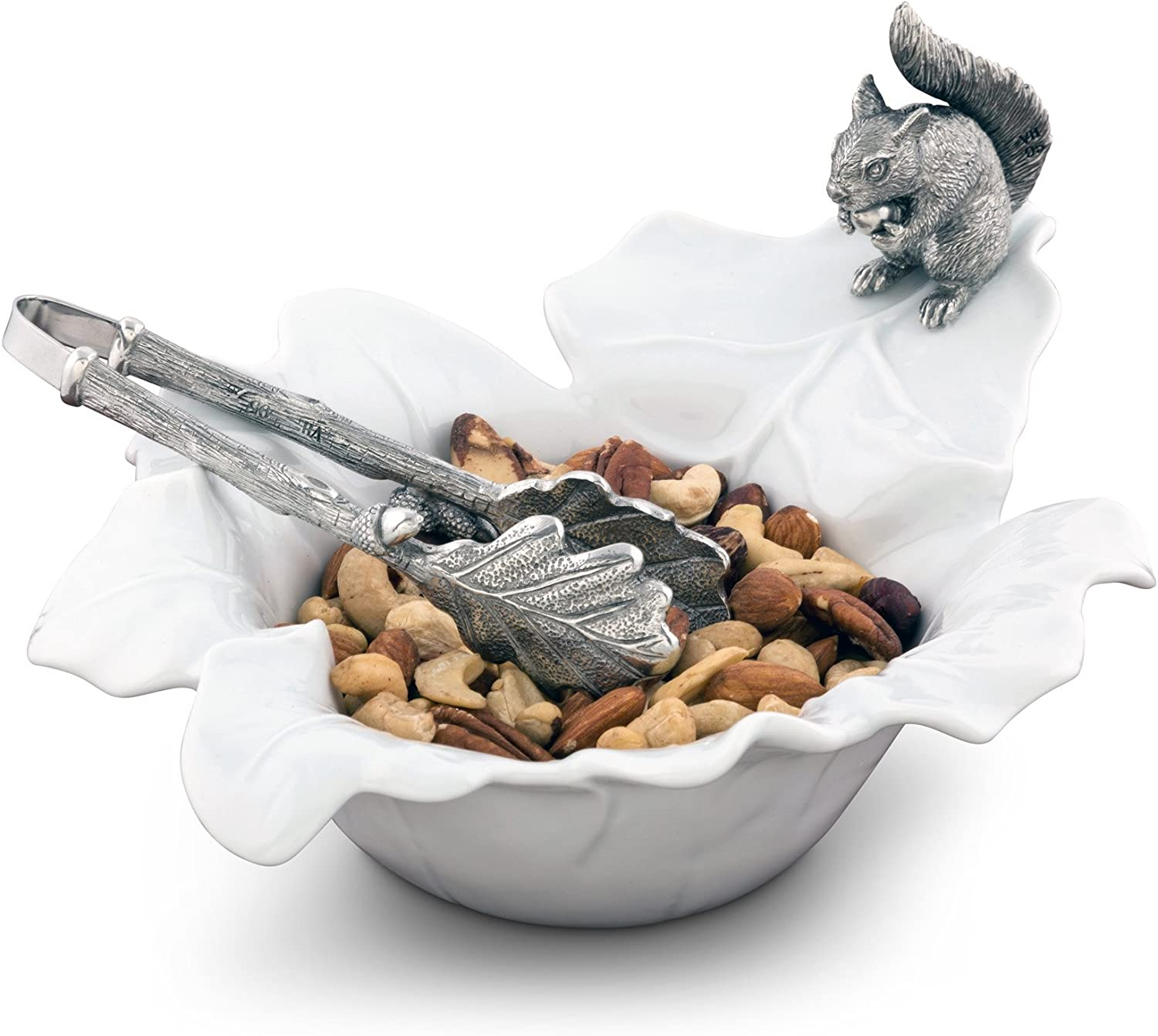 Vagabond House Fine Porcelain Leaf Bowl with Pewter Squirrel 10  x 8  5.5  Tall