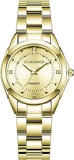 Mujer Relojes, L'ananas Clásico Elegante Diamante de imitación Acero Inoxidable Correa de Reloj Cuarzo Relojes de Pulsera ...