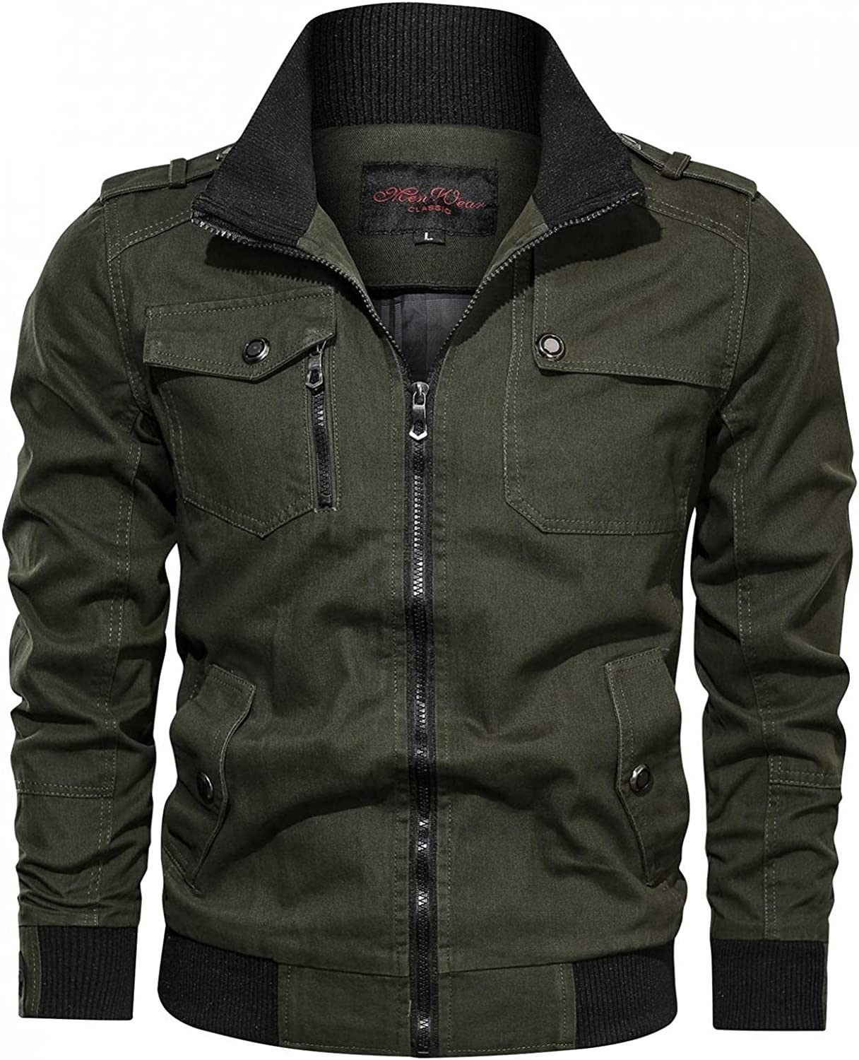 AKIMPE 55% OFF Men's Casual Plus Size Jackets Solid Military Cotton Low price Zipp