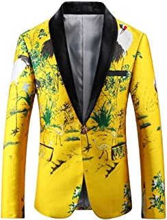 HX fashion Men's Classic Single Breasted Blazer Yellow Suit Jackets 1 Comfortable Sizes Button Blazer Printed Patterned Ca...