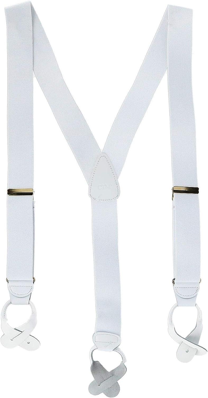 CTM Men's Elastic Button End Suspenders