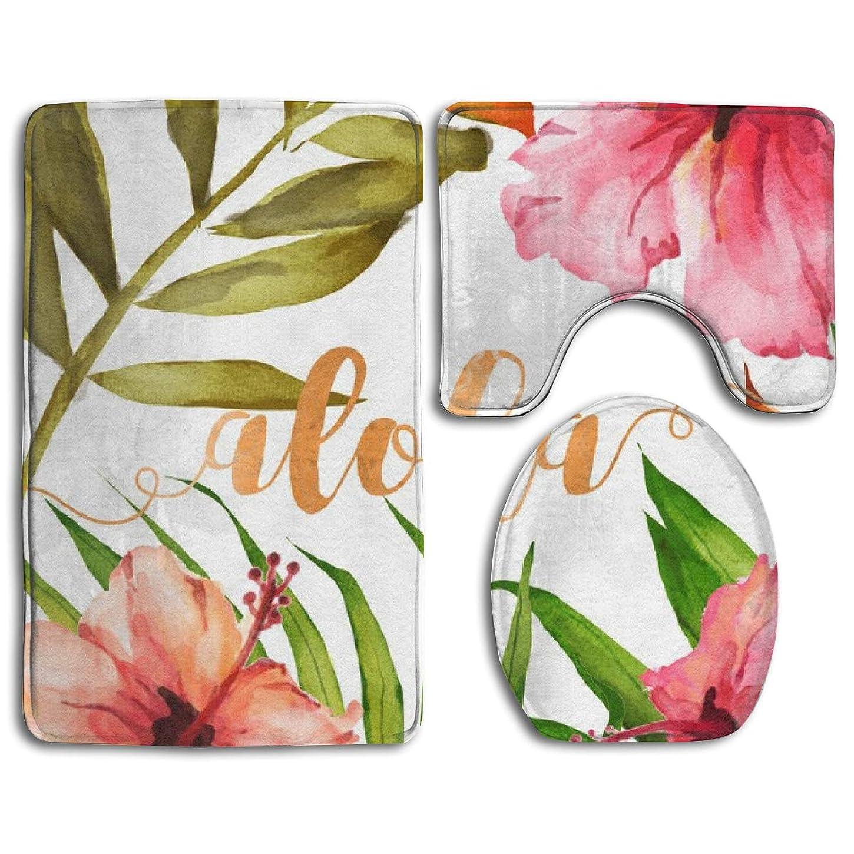 マザーランドポイントルネッサンスアロハ水彩ハワイアンの葉と花 ソフトコンフォートフランネルのバスルームマット、滑り止め吸収性便座カバーバスマットふたカバー、3個/セットカーペット敷物