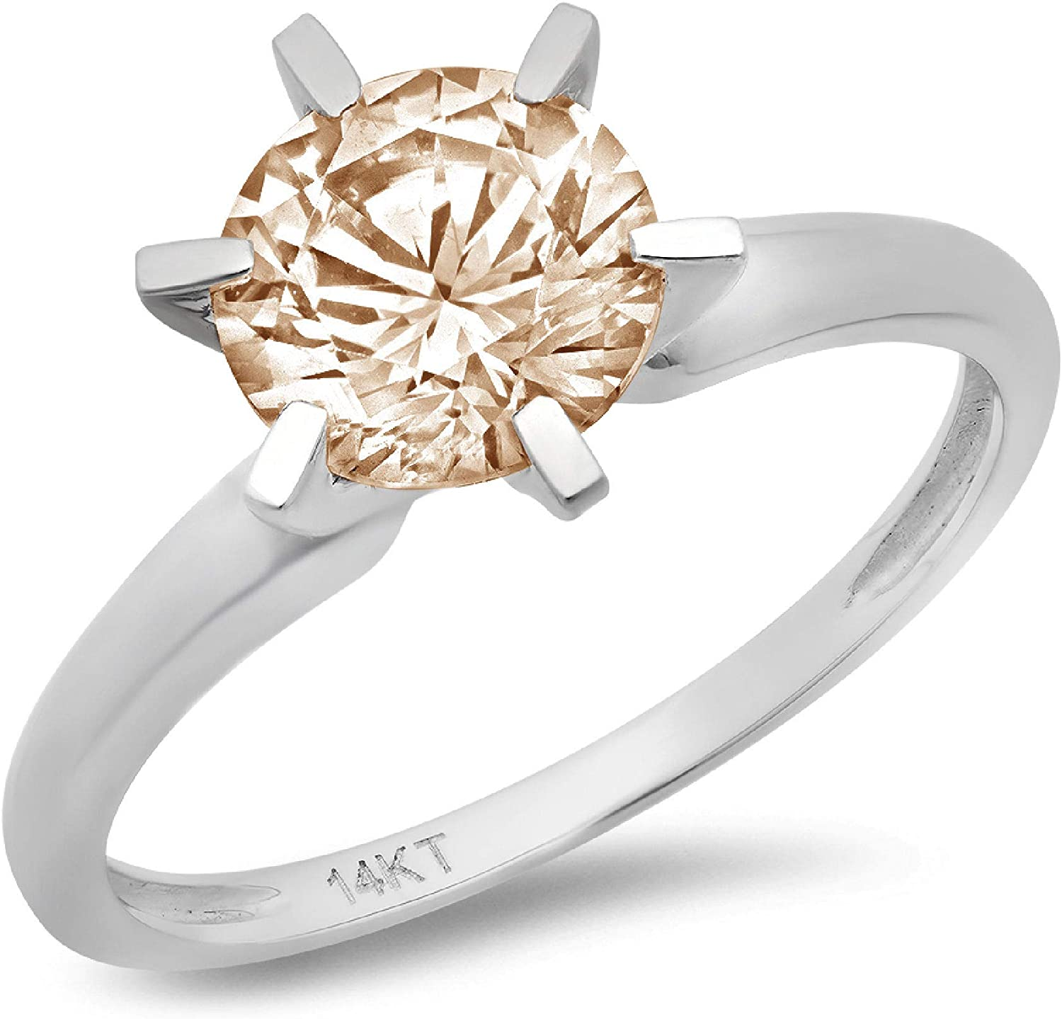 1.9ct Brilliant Now free shipping Round Cut Solitaire Brown Di Simulated Champagne High quality