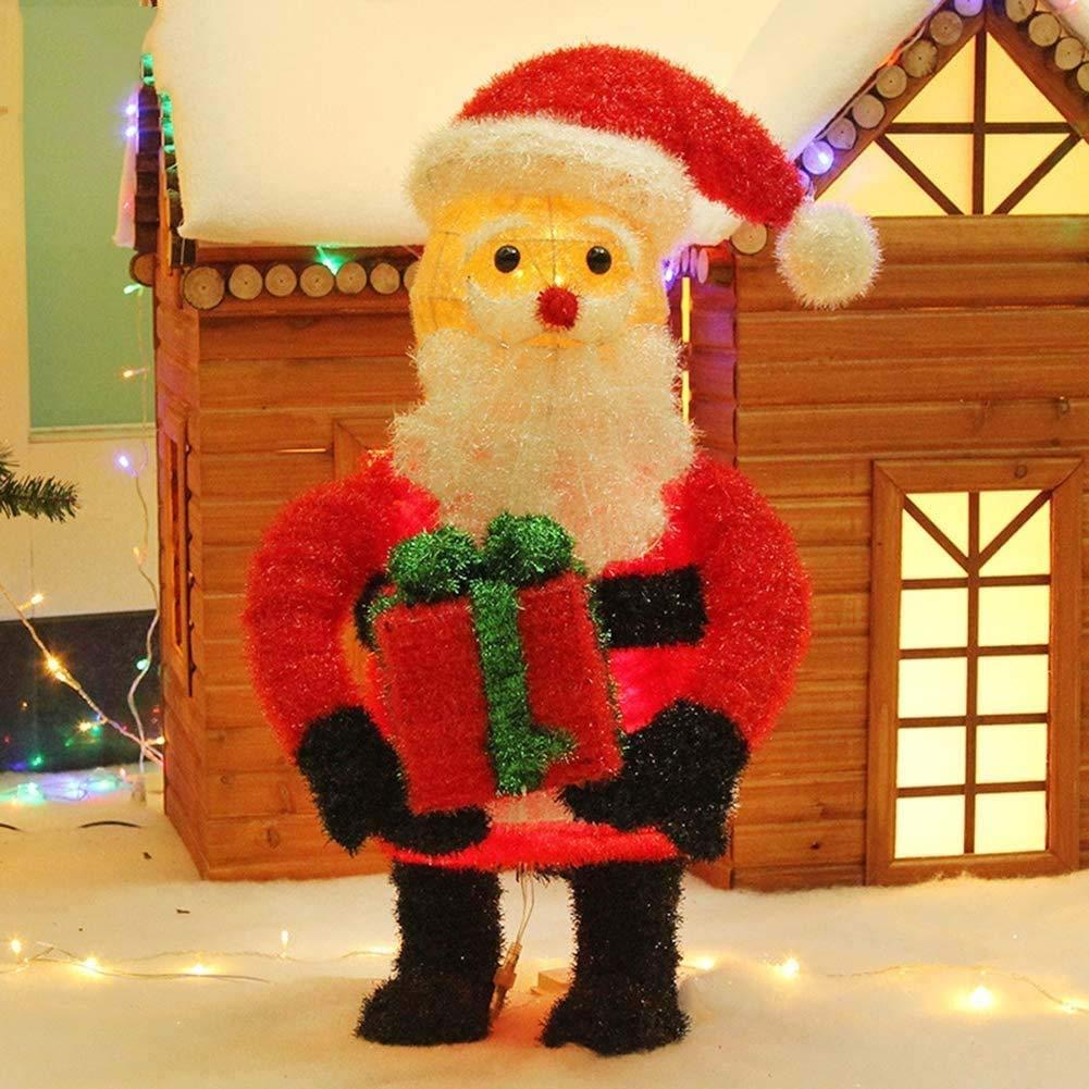 DXQDXQ Luz Navidad Resplandecer LED Luminoso Santa Claus Decoration Figura con Regalo Caja Cálido Light Metal Planchar Marco Lana para Interiores y Exteriores,50x80cm Navidad: Amazon.es: Hogar