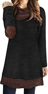 Women's Cowl Neck Sweater Tops Long Sleeve Elbow Patchs Patchwork Casual Tunic Shirts