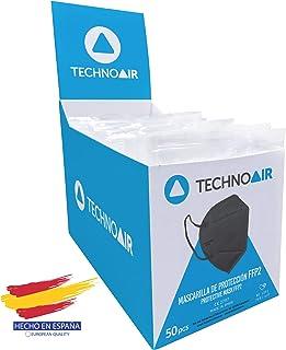 Mascarillas FFP2 de 5 capas en cajas de 50 uds color negro, Homologada tipo III, fabricadas en España CE 2797 - Technoair