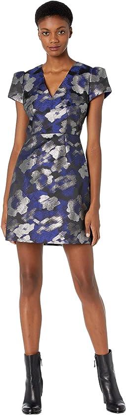 Atalie Brush Metallic Floral Dress