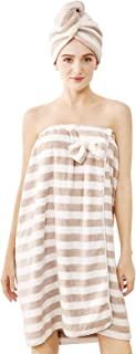 Bath Wrap for Women,H HomeZzz Women Shower Wrap Lightweight Spa Bathrobe Comfortable Bath Towels Body Wrap with Hair Drying Towel Set