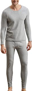 Mens Cotton Thermal Underwear Set Heavyweight Long Johns Fleece Lined
