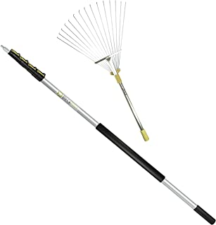 DOCAZOO DocaPole 6 to 24 Foot Roof Rake Extension Pole // Telescopic Adjustable Roof Rake for Cleaning Leaves, Sticks and ...