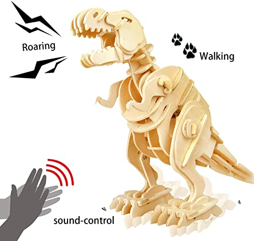 lowest ROKR 3D Wooden Puzzle-Robotic Dinosaur Toys,Sound popular Controlled outlet sale Walking T-Rex Jigsaw Puzzle Engineering Toy,Building Model Wood Craft Kit,Brain Teaser Games,Birthday Gift for Boys,Kids and Adults sale