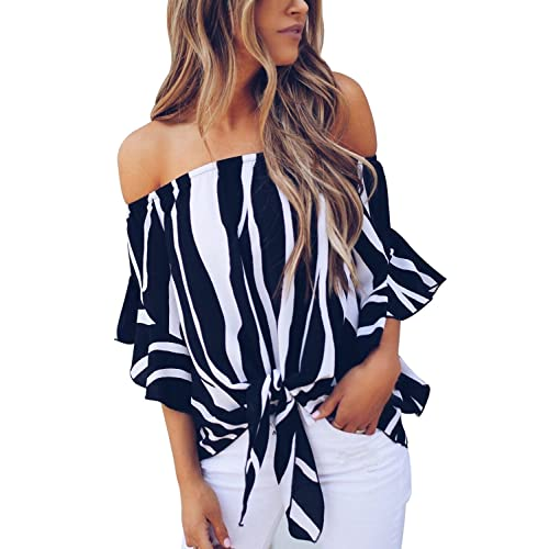 0082a7b3bafb19 Asvivid Women s Striped Off Shoulder Bell Sleeve Shirt Tie Knot Casual Blouses  Tops