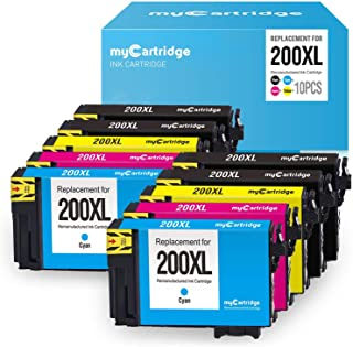 myCartridge Remanufactured Ink Cartridge Replacement for Epson 200 200XL T200XL (Black, Cyan, Magenta, Yellow, 10-Pack) to use with XP-200 XP-400 XP-410 WF-2540 WF-2530
