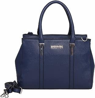 navy and brown handbag