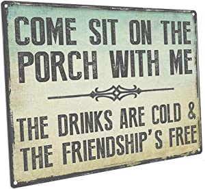 HBA Sun Protected Come Sit on The Porch with Me Metal Sign, Outdoor Living,