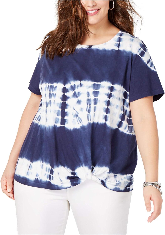 I-N-C Womens Twist-Front Basic T-Shirt