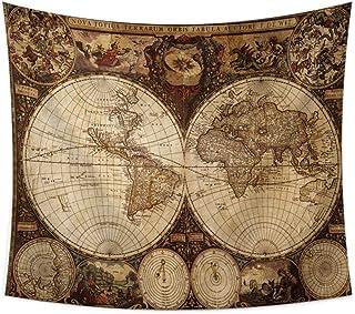 YCRY Wall Tapestry World map pattern tapestry wall hanging carpet carpet carpet wall hanging Sandy sea horse mandala beach...