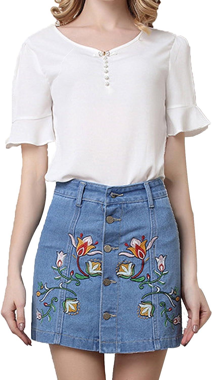 Women Casual Floral Button Down Jean Denim A-Line Mini Short Skirts