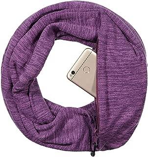 Kate Kasin Women Infinity Scarves Hidden Zipper Pocket Soft Lightweigh Travel Scarf