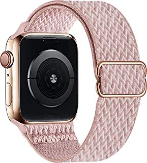 OHCBOOGIE Stretchy Solo Loop Strap Compatible with Apple Watch Bands 38mm 40mm 42mm 44mm ,Adjustable Stretch Braided Sport Elastics Weave Nylon Women Men Wristband Compatible with iWatch Series 6/5/4/3/2/1 SE,Rose pink,38/40mm