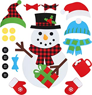 D-FantiX DIY Felt Christmas Snowman Kit، 3.1ft Large Felt Snowman Snow Game Set with 32 PCS قابل جدا شدن با زیور آلات Craft آویز دکوراسیون برای دیوار درب منزل تزئینات کریسمس هدیه برای کودکان نوپا دخترانه