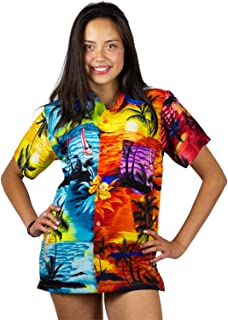V.H.O Funky Hawaiian Blouse Women Short-Sleeve Front-Pocket Hawaiian-Print Every Blouse is Unique Surfdesigns Unisex