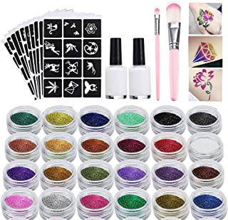 Glitter Tattoo Kit, Body Glitters Set, Glitter Temporary Tattoos, Face Painting, Make Up Body Glitters with 24 Colour Glitter, Perfect for Xmas Halloween
