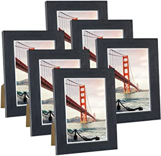 Q.Hou 5x7 Picture Frame Black Wood Pattern Photo Frames Packs 4 with High Definition Glass for Tabletop or Wall Decor (QH-...
