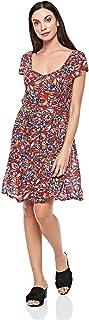 Brave Soul Pleated Dress for Women - Multi Color - 22 UK